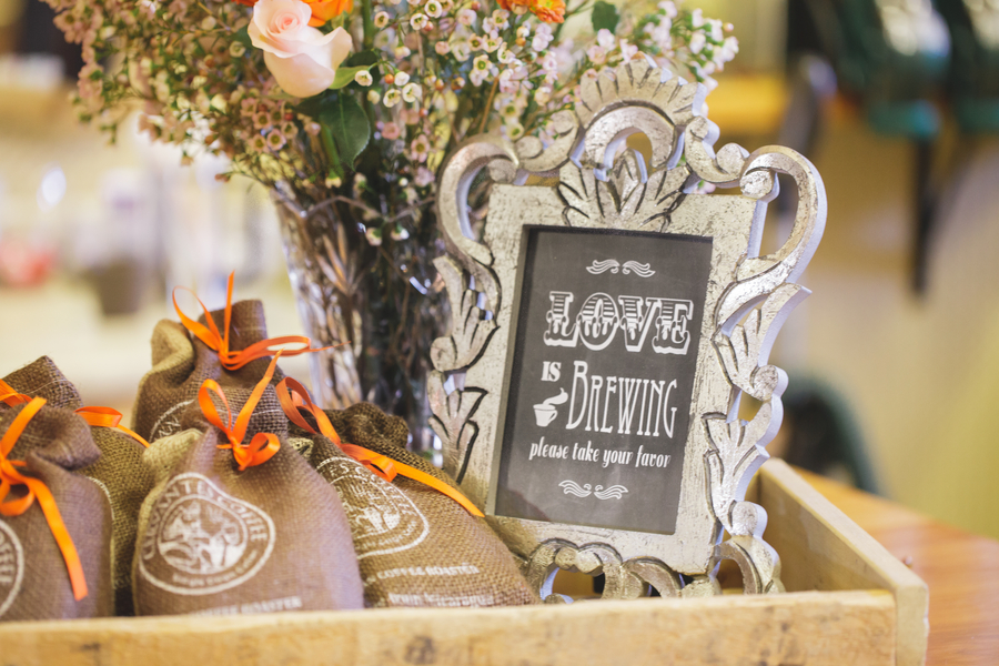 Love is Brewing Wedding Favor Display | as seen on BrendasWeddingBlog.com