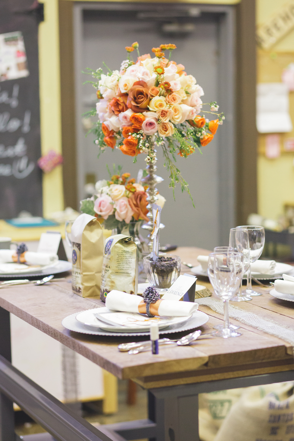 Stunning Wedding Floral Centerpiece  for a Coffee Themed Table Setting from Eight Tree Street | as seen on BrendasWeddingBlog.com