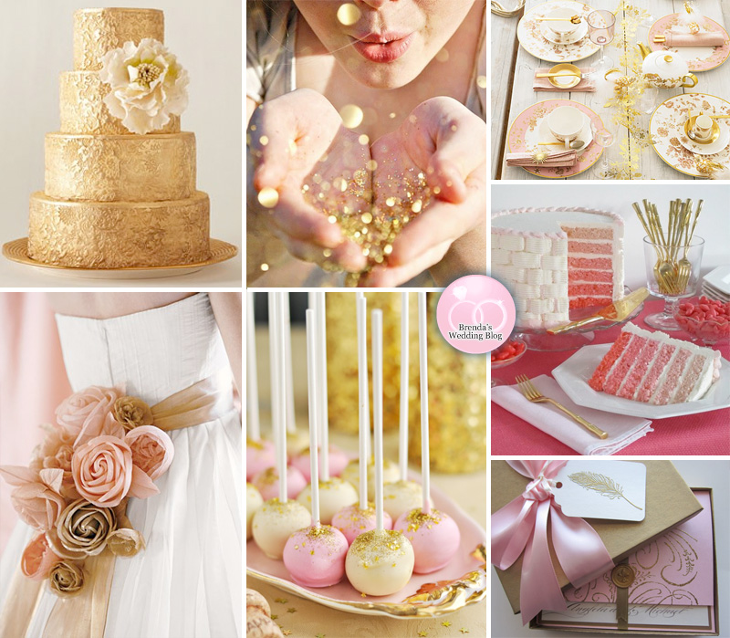 Pink and Gold Wedding Inspiration Board with Confetti and Glitter | as seen on www.BrendasWeddingBlog.com