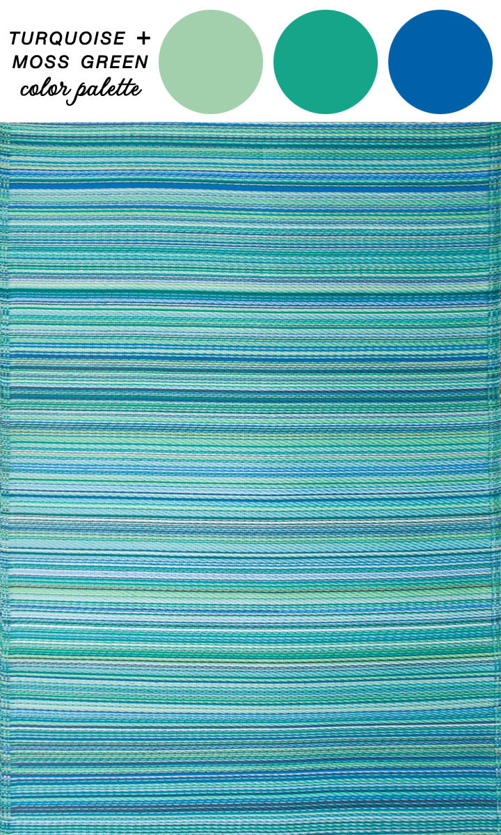 Abstract Rug :  Cancun Indoor/Outdoor Rug in Turquoise and Moss Green
