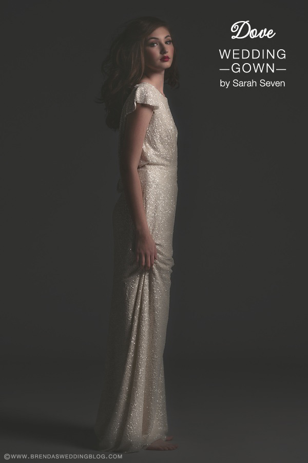 Sarah Seven Wedding Gown : style Dove . . . boat neck with cap sleeves {perfect for the slender and straight-lined shaped bride}