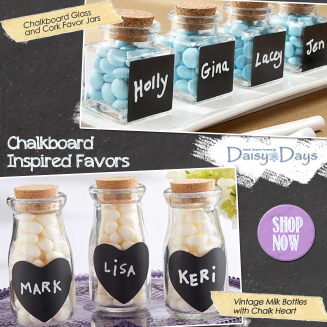 Chalkboard Inspired Wedding Favors | from Daisy Days | as seen on www.BrendasWeddingBlog