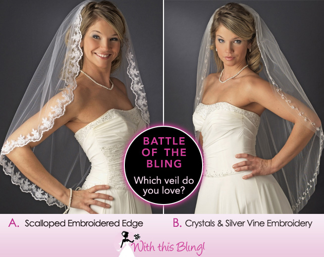 Battle of the Bling : Which Single Layer Fingertip Veil is for You | come vote on BrendasWeddingBlog.com