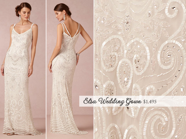 Elsa Wedding Gown from BHLDN : hand-embellished and inspired by the roaring 20's with a few modern additions | as seen on BrendasWeddingBlog.com