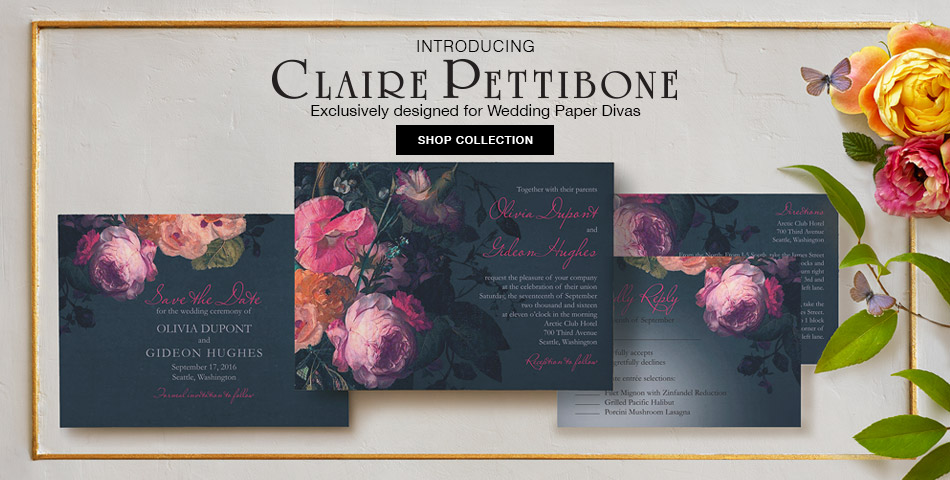 Claire Pettibone Wedding Invitation Collection created exclusively for Wedding Paper Divas | as seen on BrendasWeddingBlog.com