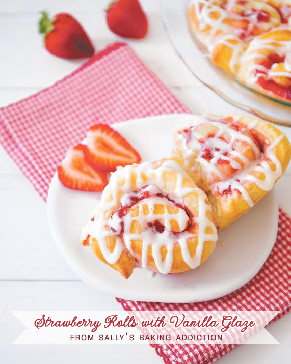 Strawberry Rolls with Vanilla Glaze | from Sally's Baking Addiction | as seen on Brenda's Wedding Blog