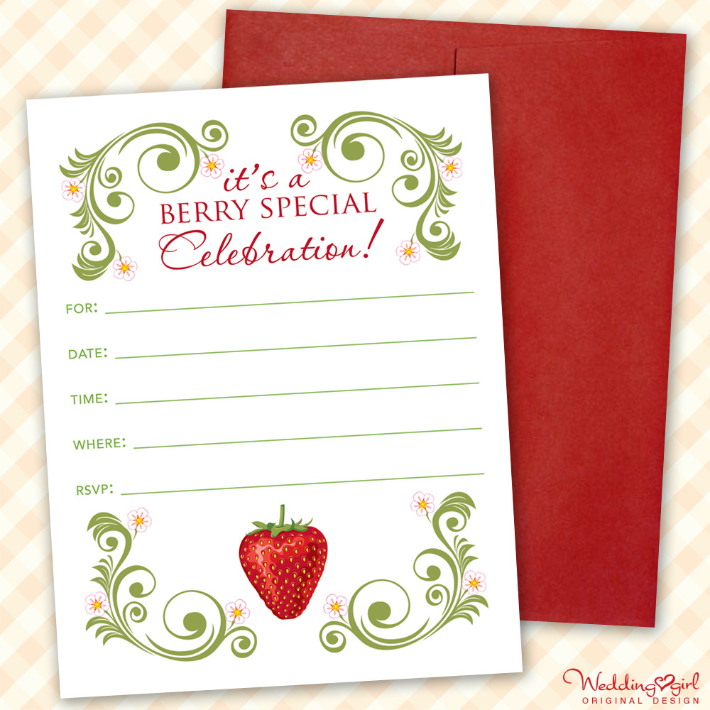 Strawberry Party Invitation - printable | available as an instant download on etsy | created by BrendasWeddingBlog.com