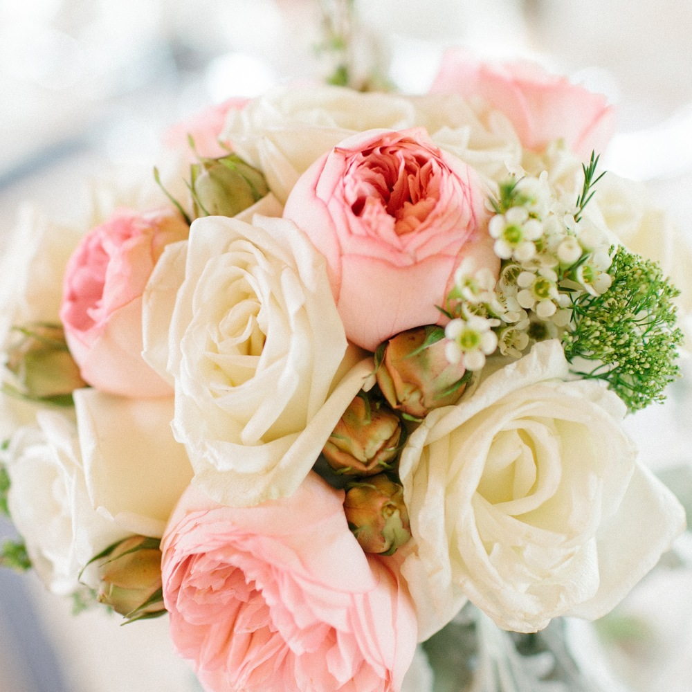 Pretty Pastel Pink and White Wedding Bouquet | photo by blf Studios | flowers by Norwood Florist | wedding by Madeline's Weddings