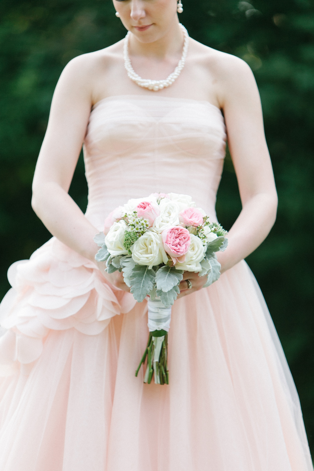 Pretty Pink and White Wedding Bouquet with Bride in Pink Vera Wang Gown | photo by blf Studios | flowers by Norwood Florist | wedding by Madeline's Weddings
