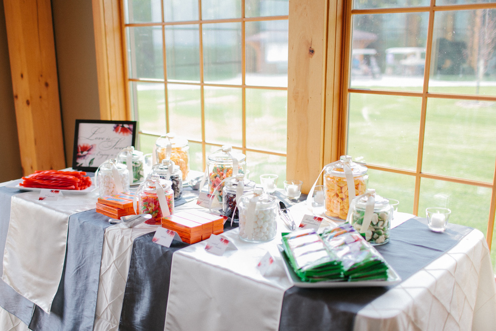 Love is Sweet Candy Buffet Table | photo by blf Studios | wedding by Madeline's Weddings