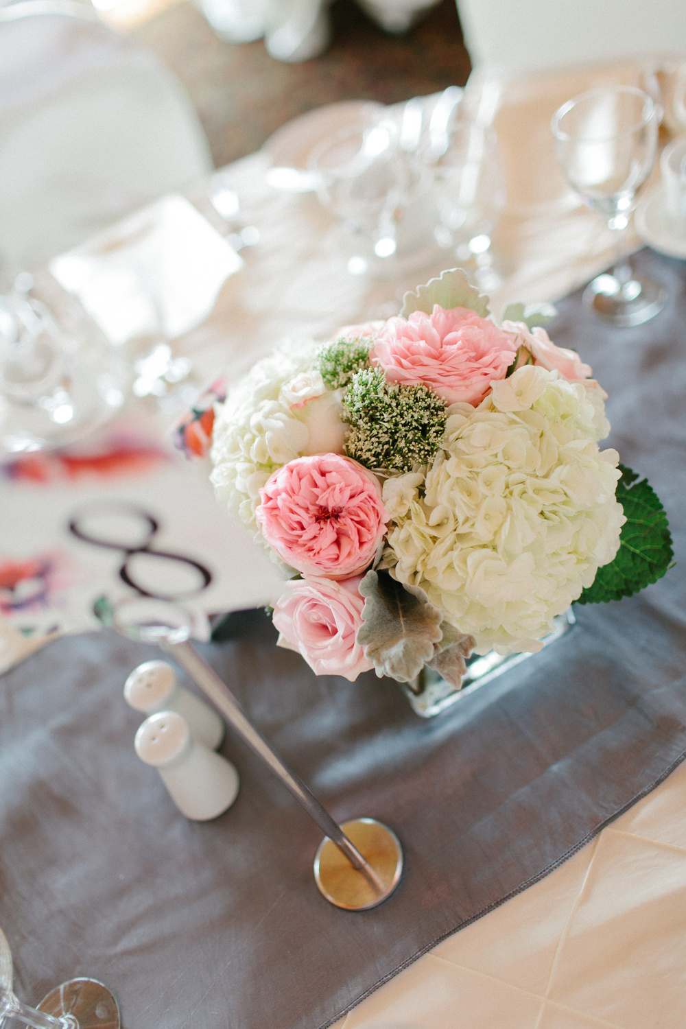 Pretty Pink and White Hydrangea Centerpiece | photo by blf Studios | flowers by Norwood Florist | wedding by Madeline's Weddings
