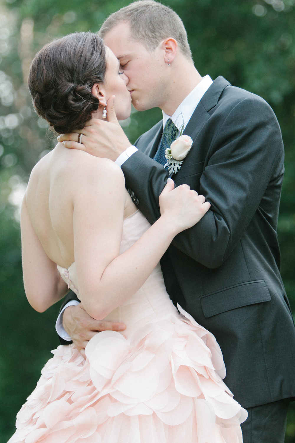 Just Married | Bride in her stunning Pink Vera Wang Wedding Gown | photo by blf Studios | wedding by Madeline's Weddings