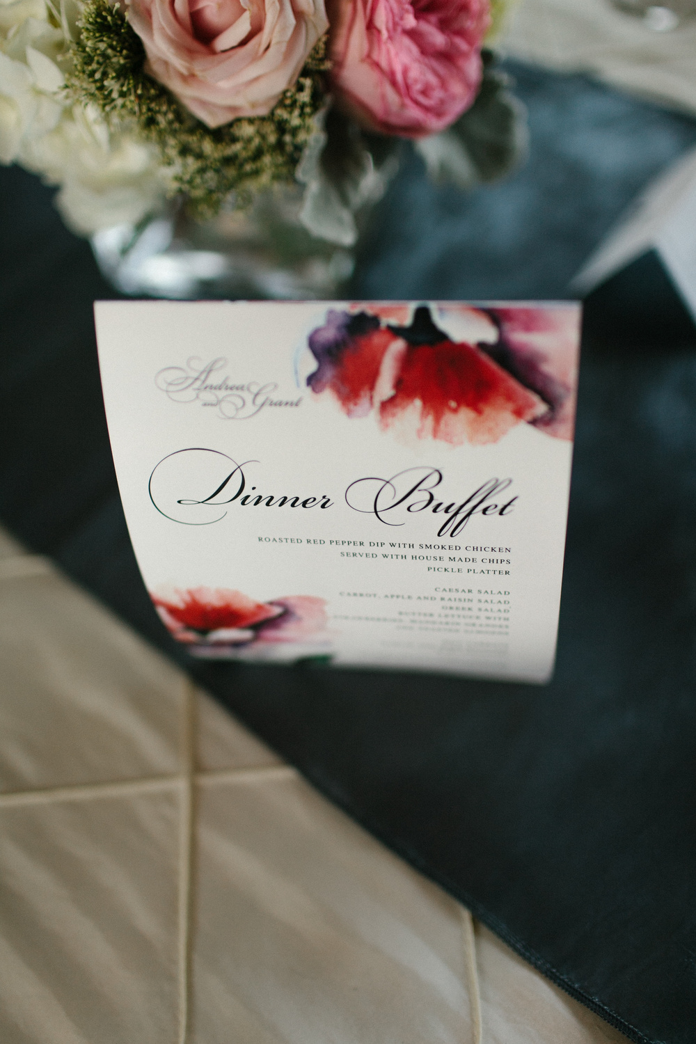 Dinner Buffet Menu Card for Wedding Table | photo by blf Studios | wedding by Madeline's Weddings
