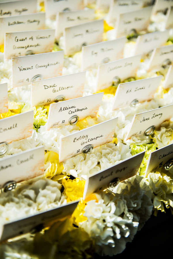 Escort Cards among the Flowers | photo by Ross Costanza Photography | as seen on www.BrendasWeddingBlog.com