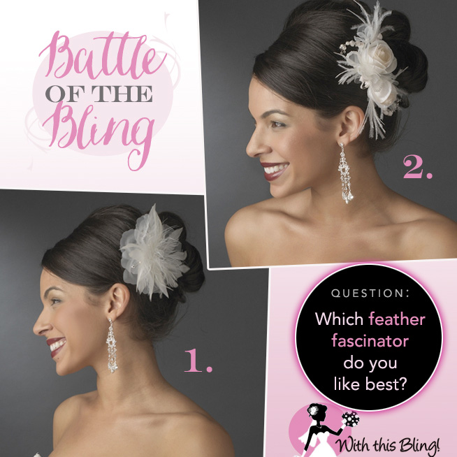 Battle of the Bling : Which Feather Fascinator Do You Like Best? Cast your vote at www.brendasweddingblog.com