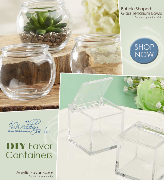 DIY Wedding Favor Containers from The Wedding Outlet : Acrylic Favor Boxes and Bubble Shaped Glass Terrarium Bowls | as seen on www.BrendasWeddingBlog.com