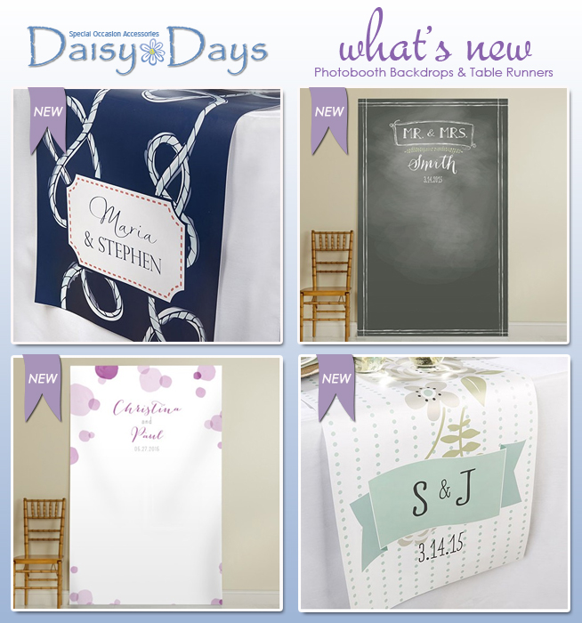 What's New For Weddings : Photobooth Backdrops and Table Runners from Daisy Days | as seen on www.BrendasWeddingBlog.com