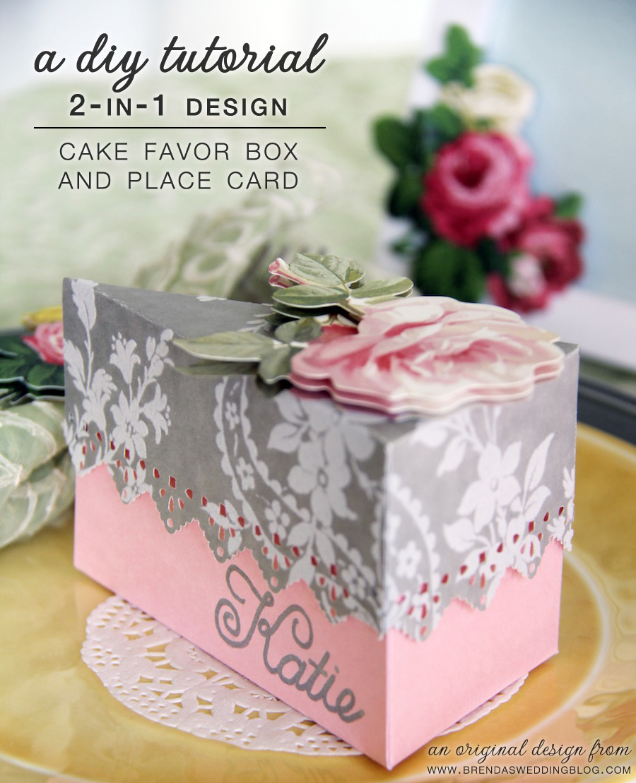 A Wedding DIY Tutorial : Cake Favor Box and Place Card Design In One | an original creation by www.brendasweddingblog.com