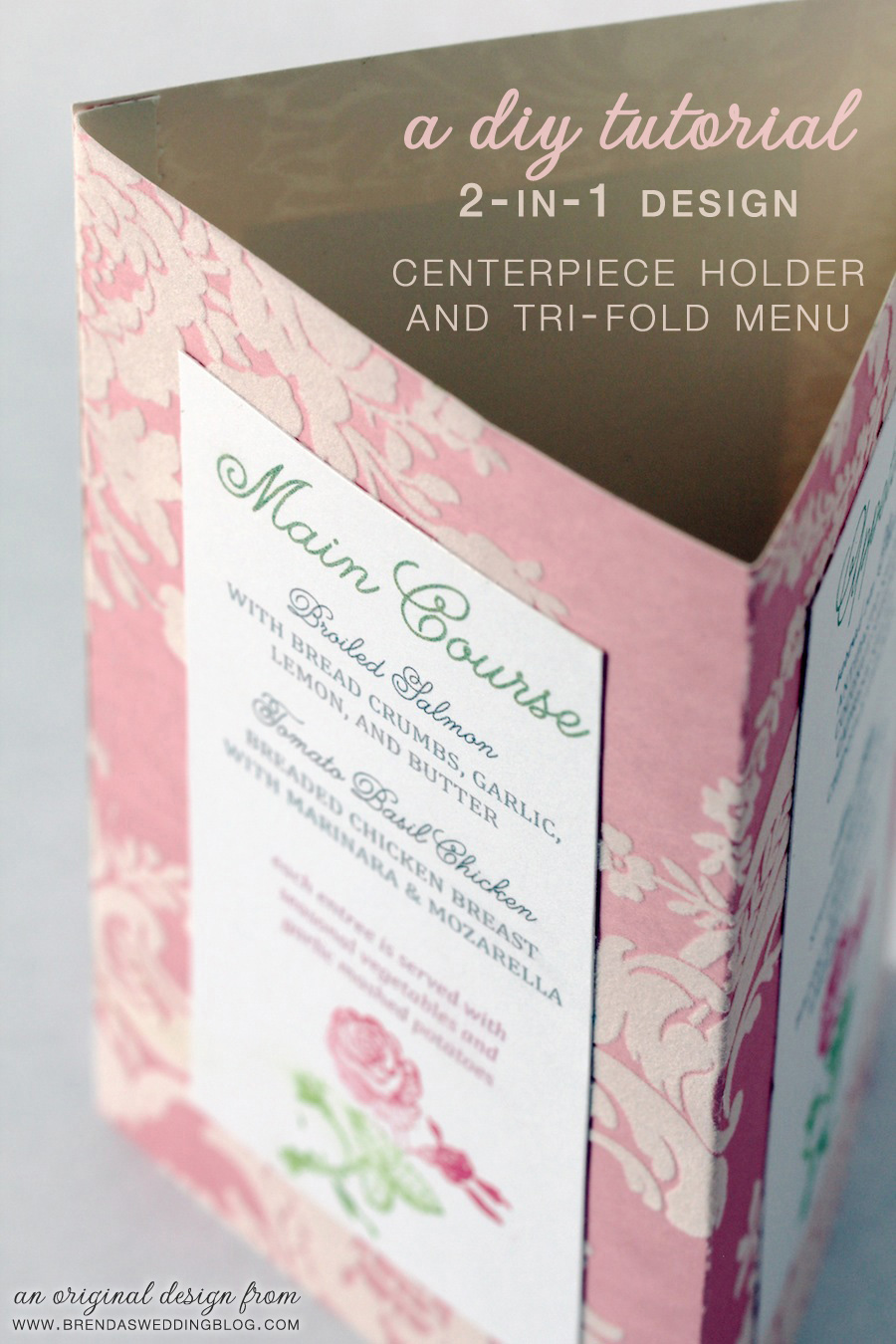 A Wedding DIY Tutorial : Tri-Fold Menu and Centerpiece Holder In One | original design by www.brendasweddingblog.com