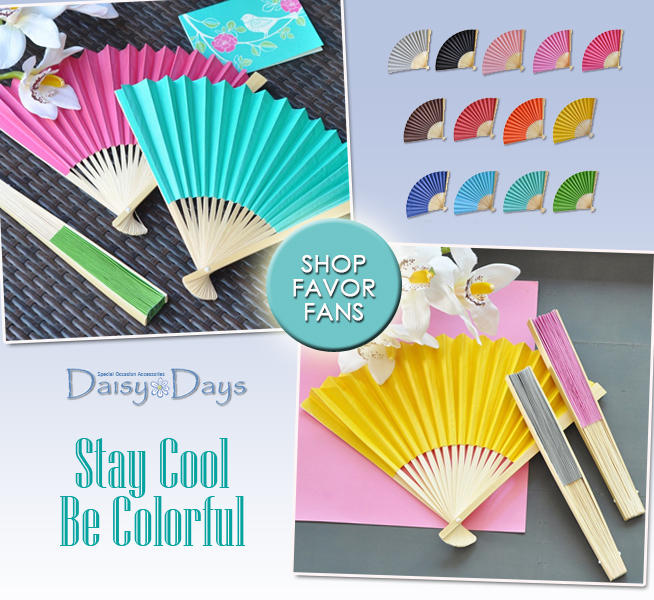 Stay Cool and Be Colorful with Wedding Favor Fans from Daisy Days | as seen on www.brendasweddingblog.com