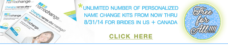 Getting Married? Come Get Your Personalized Name Change Kit for Free on www.brendasweddingblog.com