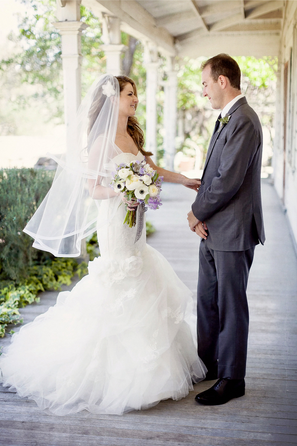 First Look of Bride and Groom at their Rustic Wedding   Photo by William Innes Photography   via www.brendasweddingblog.com