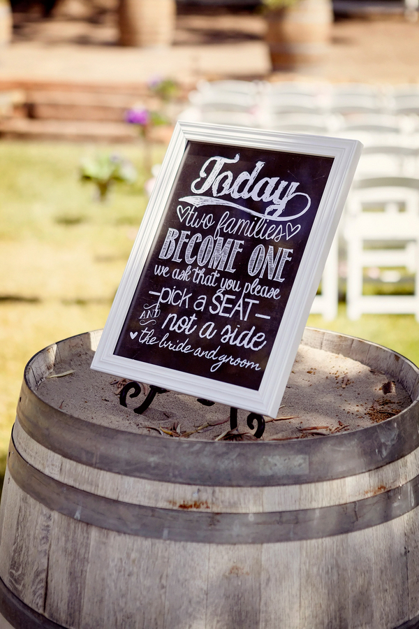 Wedding Seating Sign on a Framed Chalkboard | Photo by William Innes Photography | via www.brendasweddingblog.com