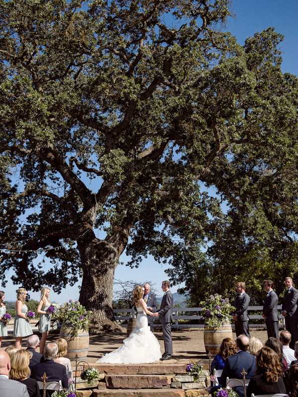 Wedding Vows In Front of a Large Oak Tree   Photo by William Innes Photography   via www.brendasweddingblog.com