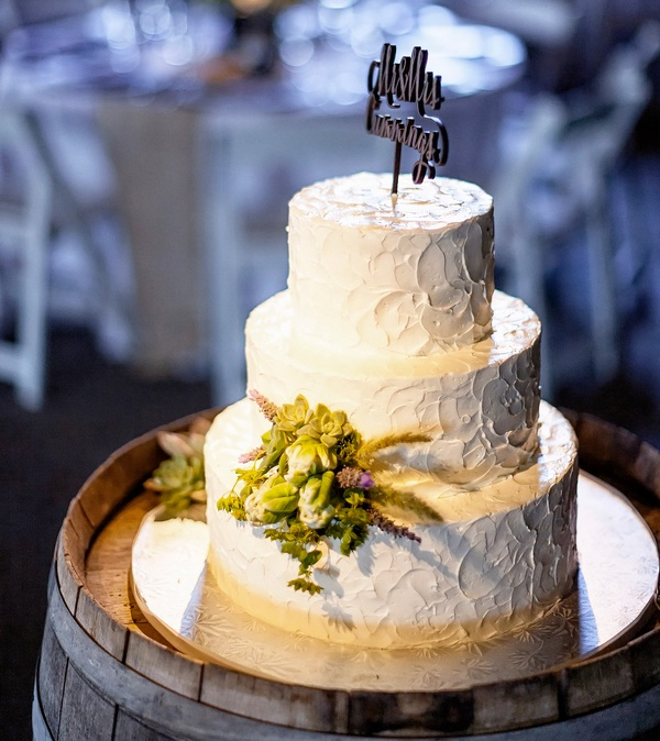 Simple and Pretty White Wedding Cake with Succulents   Photo by William Innes Photography   via www.brendasweddingblog.com