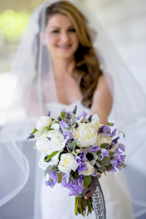 Purple and White Wedding Bouquet from Flowers by Laurel | Photo by William Innes Photography | via www.brendasweddingblog.com