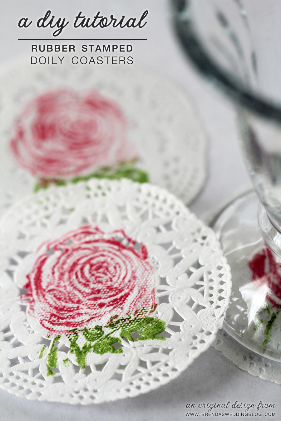 DIY Tutorial for Rubber Stamped Paper Doily Coasters | an original creation from www.brendasweddingblog.com