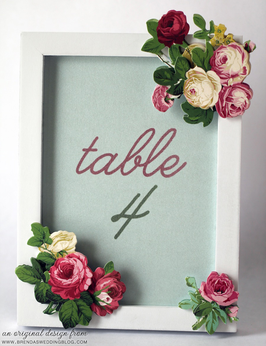 DIY Table Number Frame with Floral Stickers | an original creation from www.brendasweddingblog.com