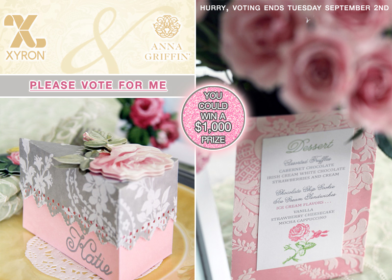 """Please vote for my Paper Craft DIY Designs in the Say """"I Do"""" with Xyron and Anna Griffon Blogger Design Challenge. Place Card and Favor Box in One and a Menu that serves as a Centerpiece Holder {only one menu needed per table}"""