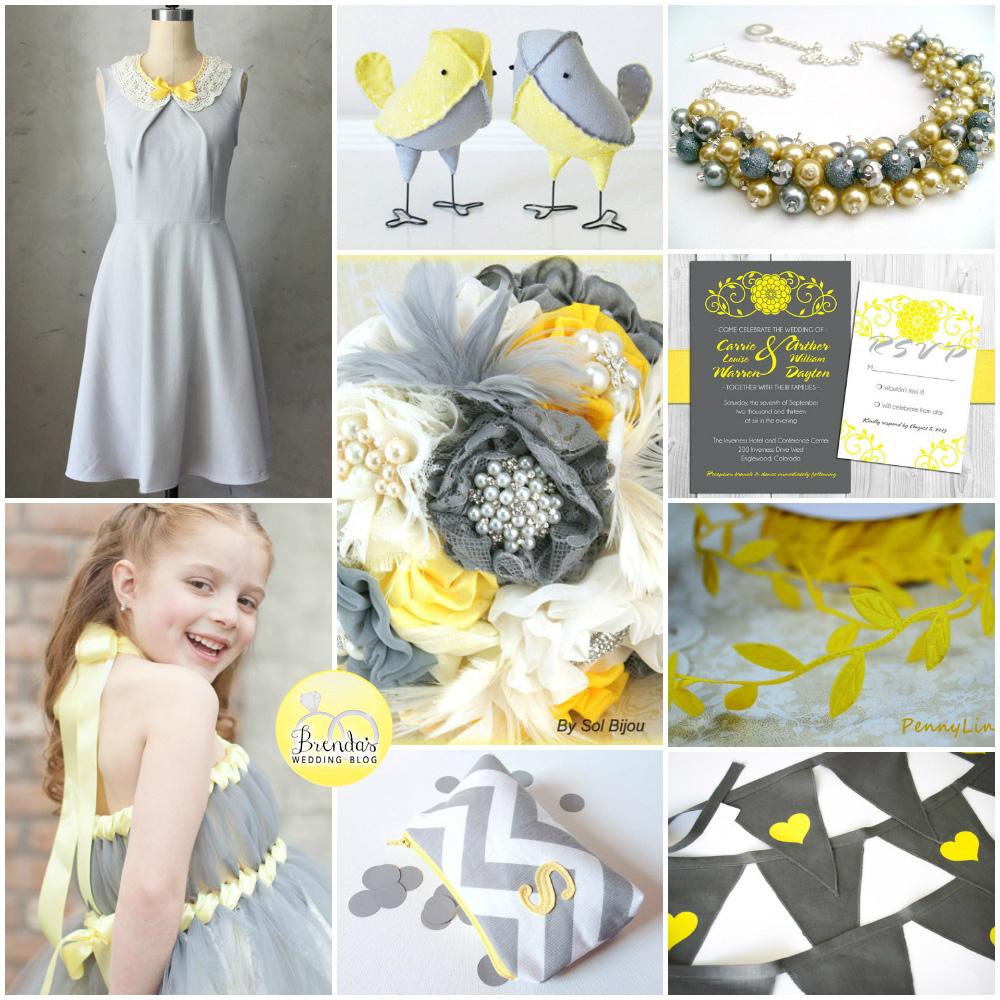 Grey and Lemon Yellow Handmade Wedding Inspiration Board   an original collage from www.brendasweddingblog.com