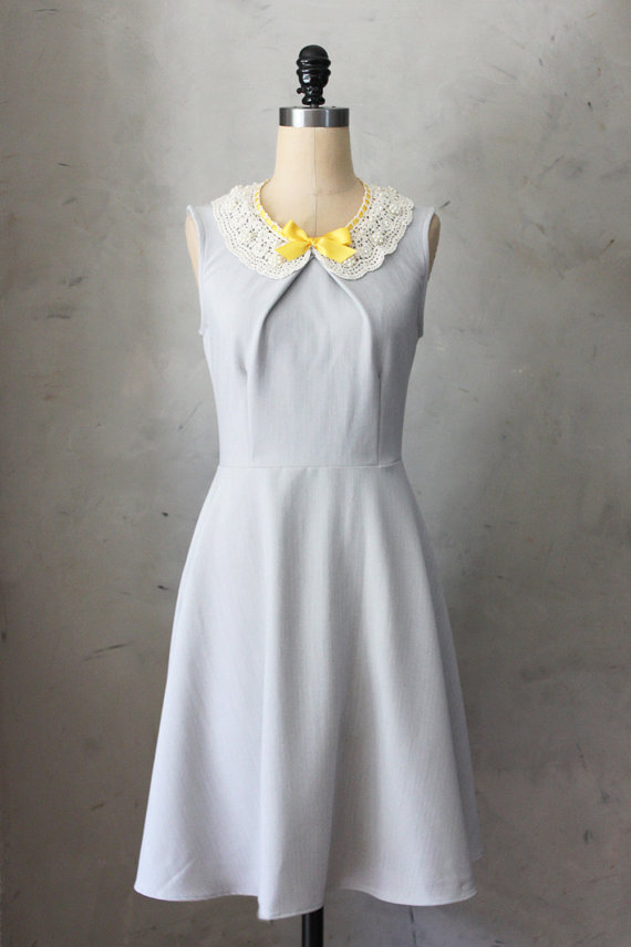soft grey vintage inspired dress | perfect for bridesmaids | from Fleet Collection on etsy www.etsy.com/shop/FleetCollection | as seen on www.brendasweddingblog.com