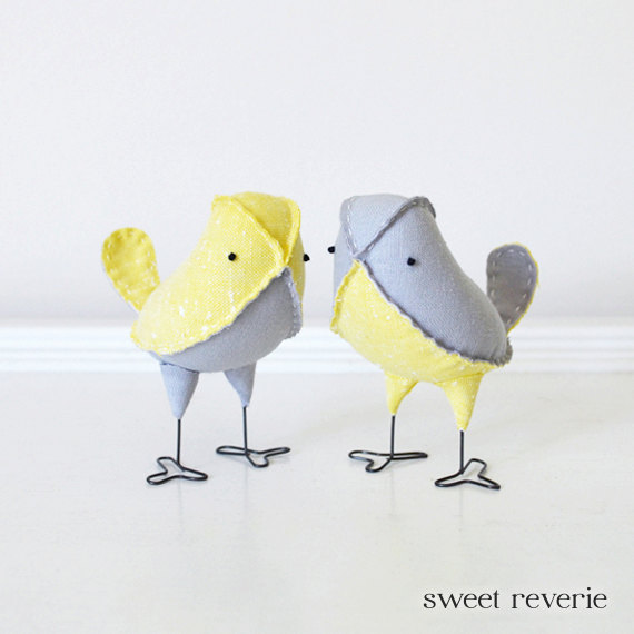 grey and yellow love birds wedding cake topper   from Sweet Reverie on etsy www.etsy.com/shop/asweetreverie   as seen on www.brendasweddingblog.com