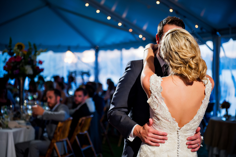 First Dance under the Twinkling Lights | photo by Ross Costanza Photography | as seen on www.brendasweddingblog.com