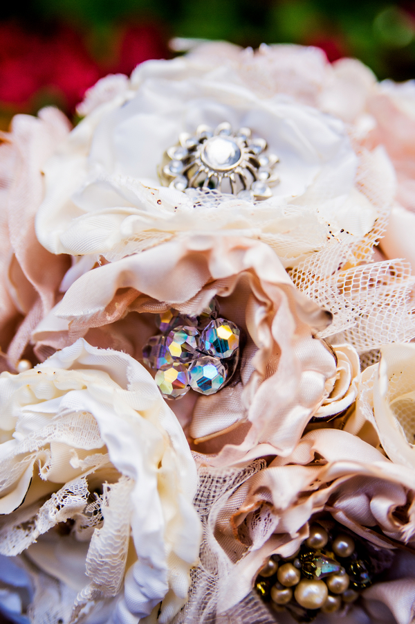 Stunning Fabric Floral Wedding Bouquet with Rhinestone Brooch Centers | photo by Ross Costanza Photography | as seen on www.brendasweddingblog.com