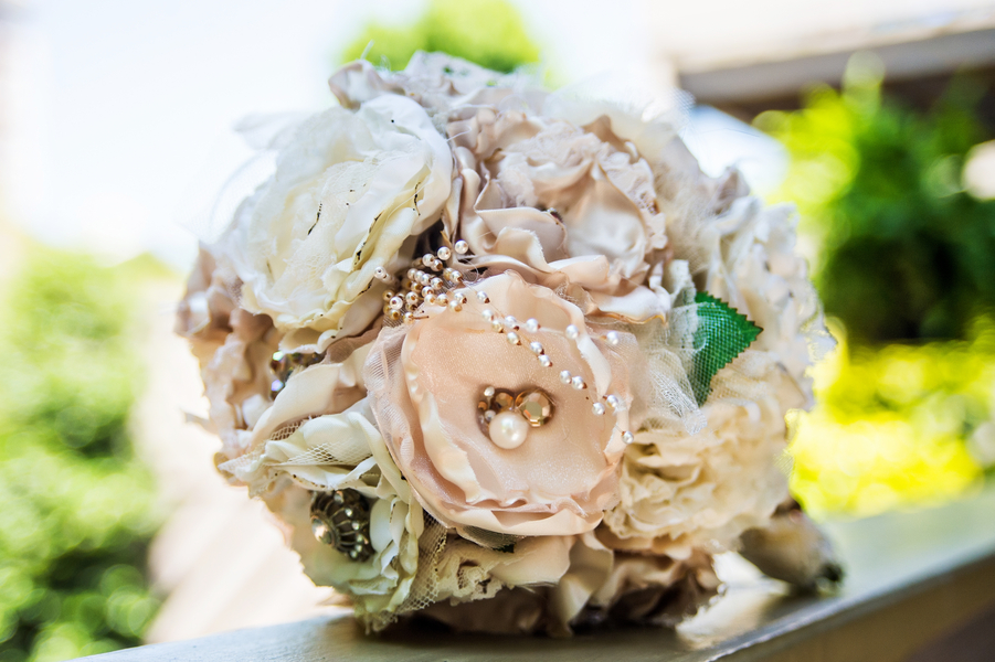 Beautiful Fabric Flower and Brooch Wedding Bouquet | photo by Ross Costanza Photography | as seen on www.brendasweddingblog.com