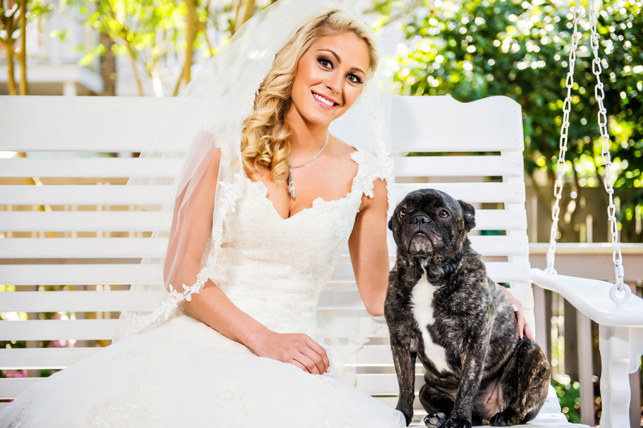 Gorgeous Bride with her Adorable Dog | photo by Ross Costanza Photography | as seen on www.brendasweddingblog.com