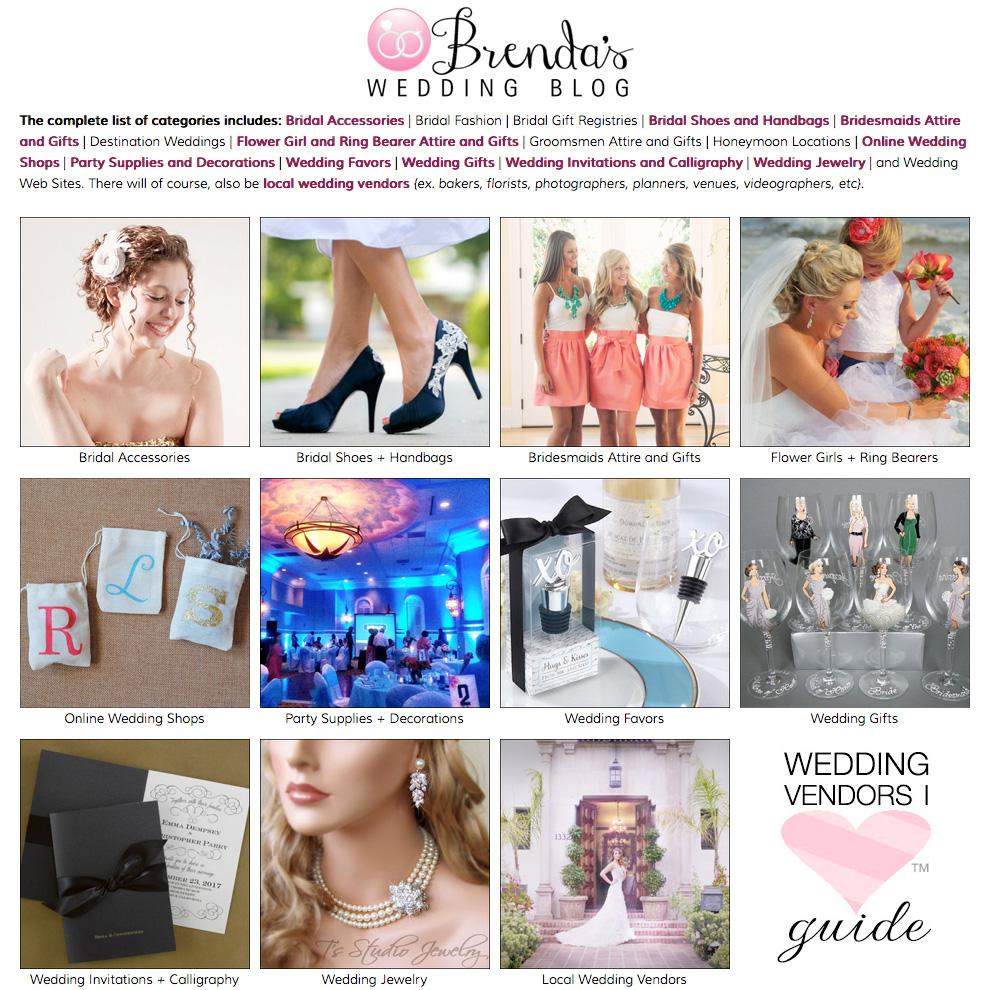Find Your Wedding Vendors with the Wedding Vendors I L♥VE™ Guide on Brenda's Wedding Blog www.brendasweddingblog.com