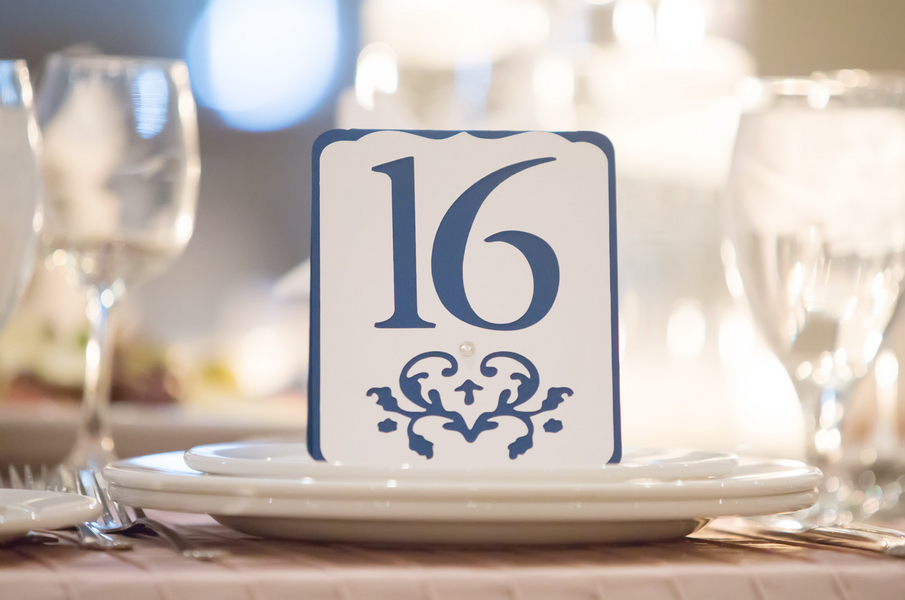 Pretty Blue Table Number | photo by Real Image Photography | as seen on www.brendasweddingblog.com