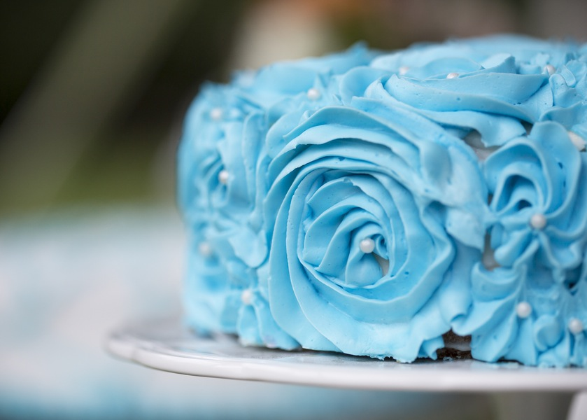 Sweet Little Blue Rosette Wedding Cake | photo by Two Sticks Studios | as seen on www.brendasweddingblog.com