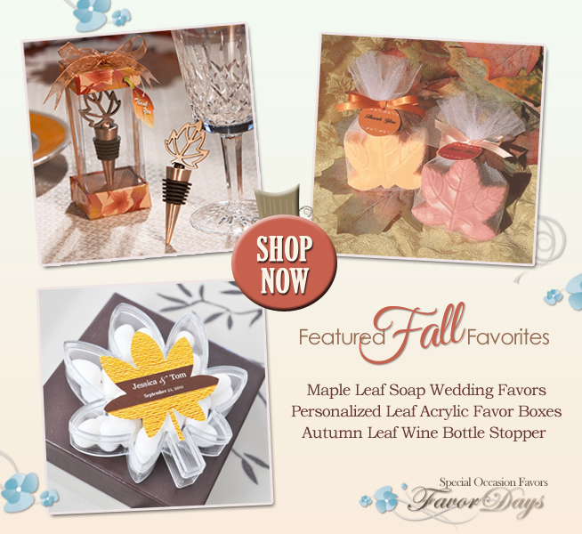 3 Favorite Fall Wedding Favors from www.favor-days.com on www.brendasweddingblog.com