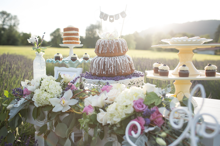 Whimsical Lavender and Lace Styled Shoot - the Dessert Table | photo by Ashley Cook Photography | as seen on www.BrendasWeddingBlog.com