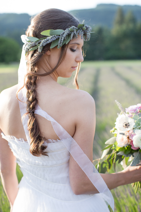 Lavender Wedding Floral Crown | photo by Ashley Cook Photography | as seen on www.BrendasWeddingBlog.com