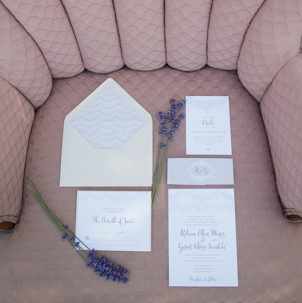 Lavender Wedding Invitation Suite by Little Arrow on etsy | photo by Ashley Cook Photography | as seen on www.BrendasWeddingBlog.com