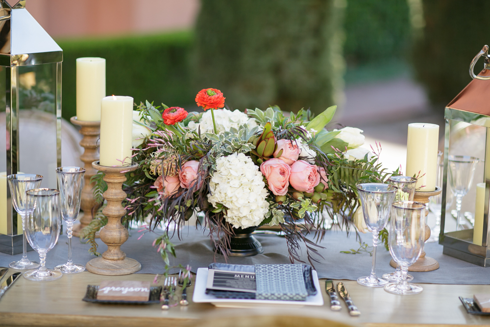 Farm to Table Chic Wedding Centerpiece with Candles : Outdoor Theme for Fall Weddings | by Nancy Liu Chin Designs