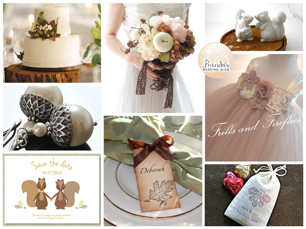 Fall Themed Wedding Inspiration Board with Acorns and Squirrels | as seen on www.BrendasWeddingBlog.com