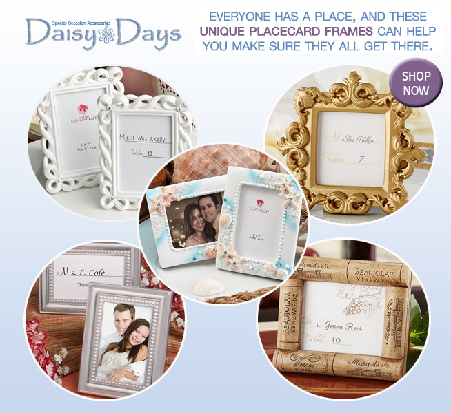 Unique Wedding Place Card Frames that are Adorable and Functional : Placecards from Daisy Days, as seen on www.BrendasWeddingBlog.com